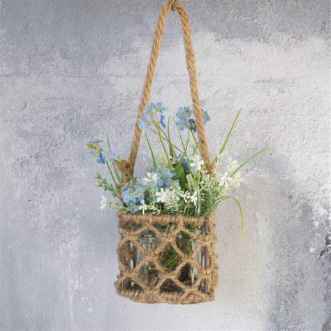 How To Make A Rope Hanging Basket - rope hanging basket vase by abigail bryans designs