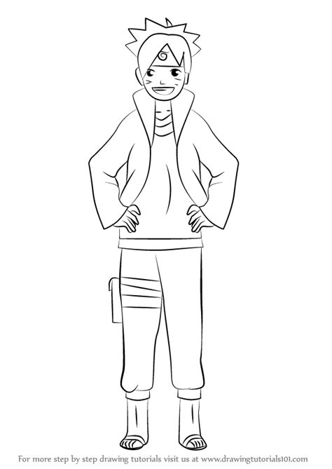 boruto drawing learn how to draw boruto uzumaki from naruto naruto step