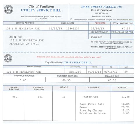 billing payment information city of pendleton