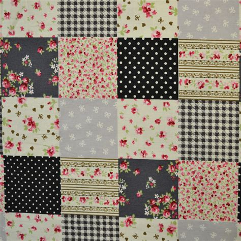 Patchwork Textiles - grey patchwork square print fabric cp0108 ebay