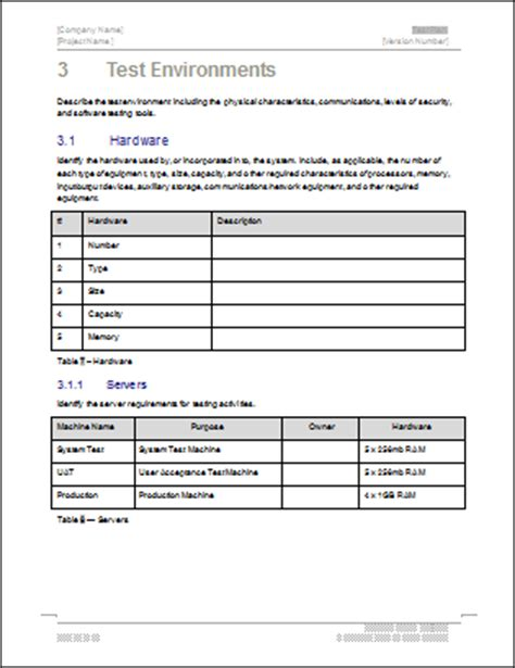 test procedure template word test plan ms word excel template