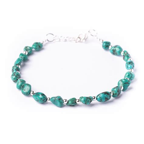 turquoise bead bracelet new sterling silver 925 genuine turquoise bead bracelet by