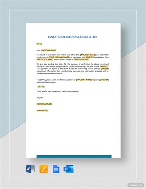 educational reference check letter samples templates