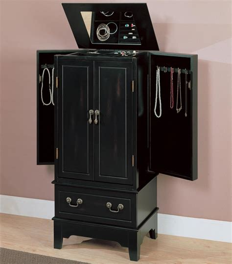 black wood armoire coaster 900095 black wood jewelry armoire steal a sofa