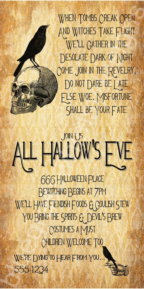 All Hallow S Eve Halloween Party Invitation 4x8 By Bluegrasswhimsy 15 00 Bluegrass Whimsy 4x8 Invitation Template