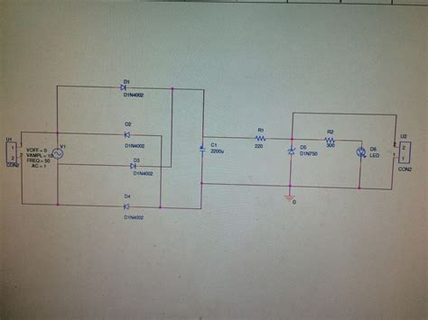diode rectifier circuit analysis circuit analysis wave bridge rectifier with capacitor resistors zener diode and a led