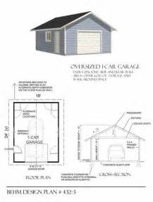 large garage plans oversized 1 car garage plan no 432 3 by behm design 18 x