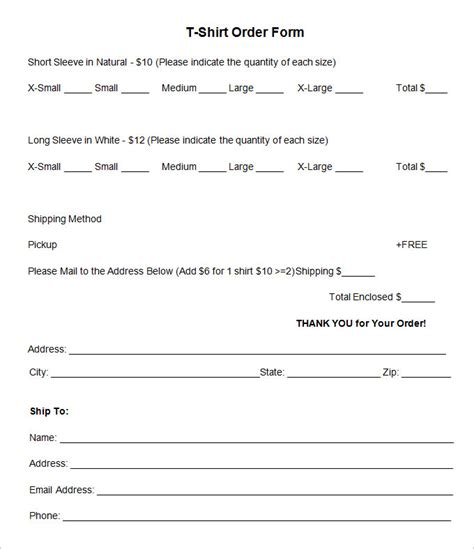 t shirt form template t shirt order form template 26 free word pdf format