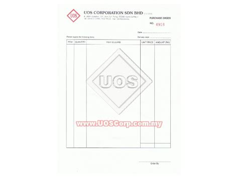 Letterhead For Purchase Order Printing Services Customized Bill Books With Company Letterhead Purchase Order Uos Corporation