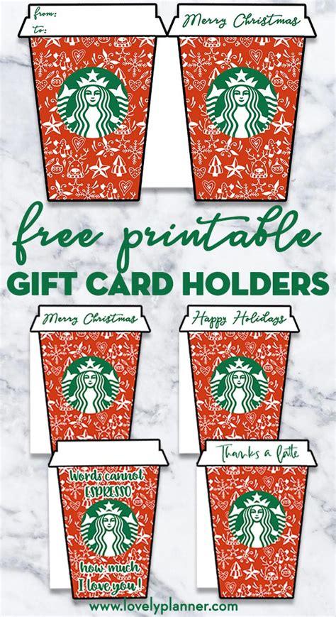 printable christmas starbucks gift card holders lovely planner
