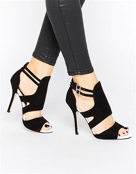 miss shoes miss kg india cut out heeled sandals in black lyst
