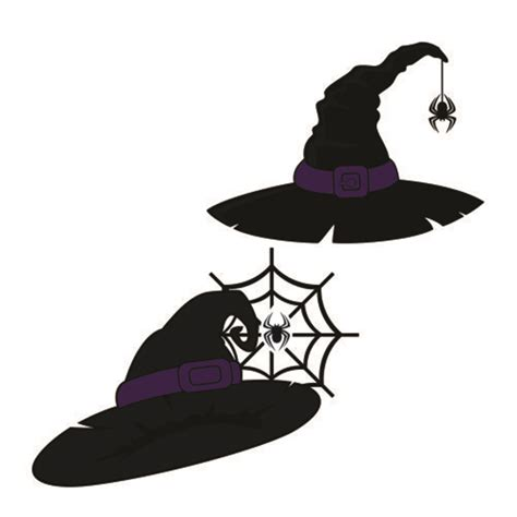 witch hat svg cuttable frames spider witch hat cuttable design