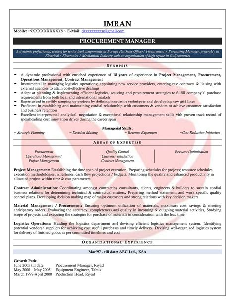 sample resume purchase manager free sample resume