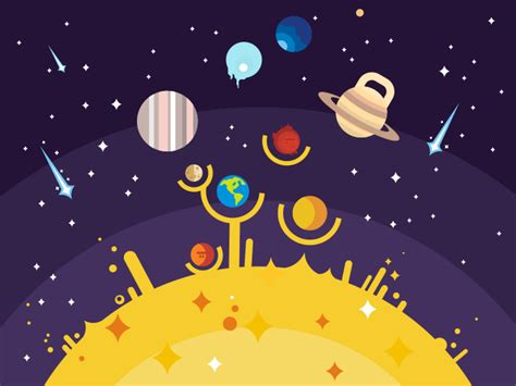 solar system flat illustration