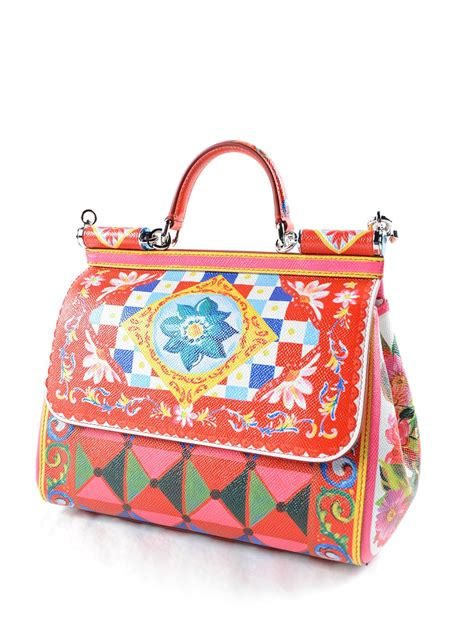 Dolce Gabbana Crinkled Patent Bowling Bag by Sicily Mambo Print Medium Bag By Dolce Gabbana Bowling