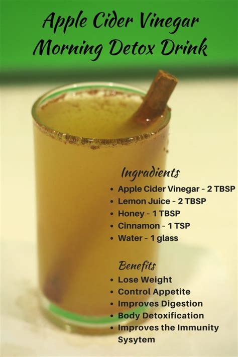 Vinegar Lemon Honey Cinnamon Detox by Apple Cider Vinegar Drink For Weight Loss