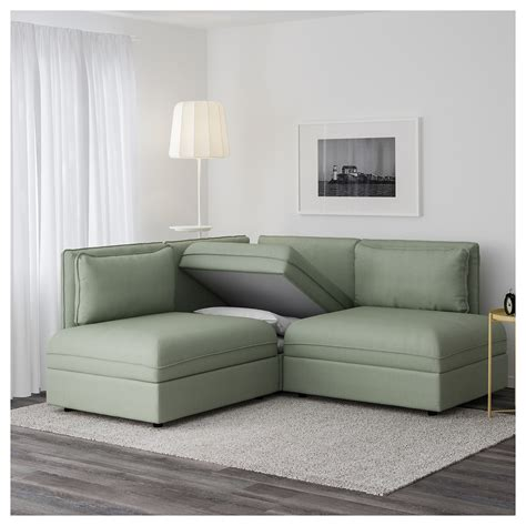 corner settee ikea vallentuna 3 seat corner sofa with bed hillared green ikea