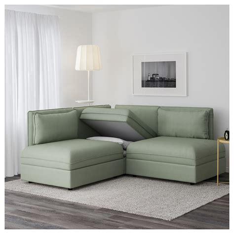 corner sofa green vallentuna 3 seat corner sofa with bed hillared green ikea