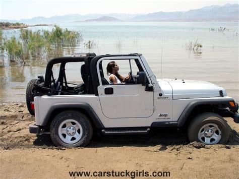 jeep wrangler girls jeep wrangler mud stuck on the lake