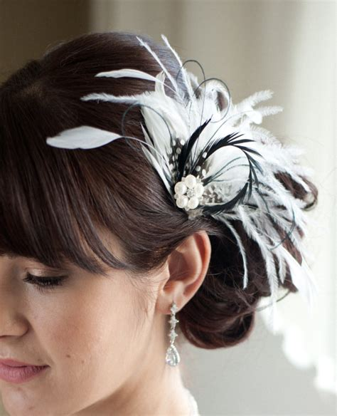 how to feather black hair wedding hair accessory bridal feather fascinator black and