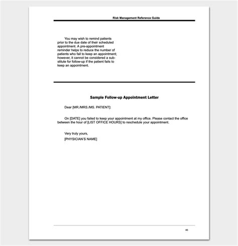 follow doctor appointment letter format letter