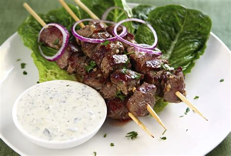 lamb kebabs yogurt marinated lamb kebabs with tzatziki recipe dishmaps