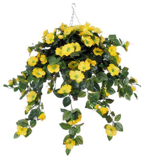 design hanging flower baskets shop houzz house of silk flowers inc artificial yellow