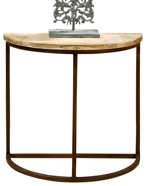 demilune accent table demilune table w iron base traditional console tables