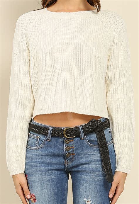 Crop Sweater 1 waffle knit crop sweater shop sweaters cardigans at