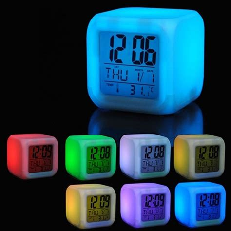 7 led colors changing digital alarm clock desk gadget digital alarm thermometer glowing