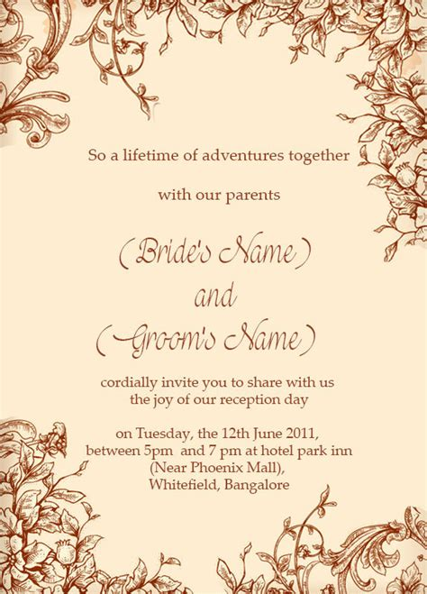 Wedding Invitation Card Reception by Free Wedding Reception Ceremony Invitation Wordings India
