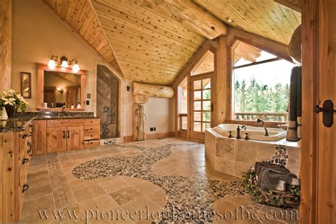 bathrooms in log homes log influences on interior of master bath round log post and beam home by pioneer log