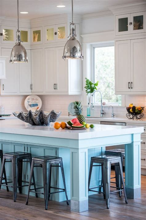 kitchen island with 4 stools coastal white kitchen with turquoise island home bunch interior design ideas