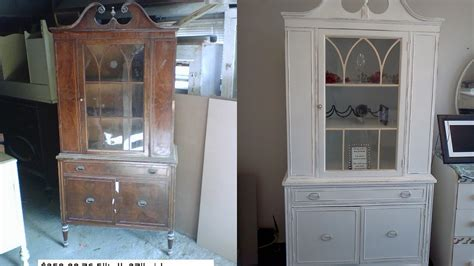 painted china cabinet before and after vintage china cabinet painted white and distressed