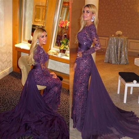 Jumpsuit Murah Jumpsuit Cape 2016 purple lace sleeves prom gown mermaid