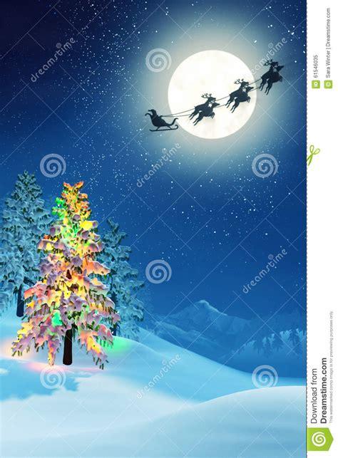 193 rbol de navidad y pap 225 noel en paisaje iluminado por la