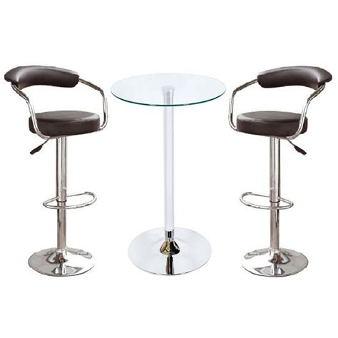 Glass Bar Table And Stools Bente Glass Bar Table In Clear With 2 Zenith Black Bar