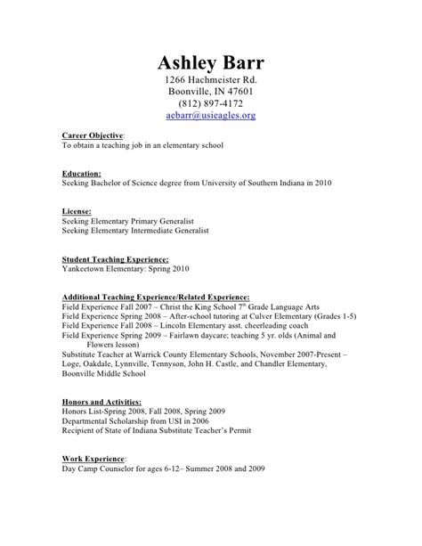 Resume With Experience Sle Doc Child Care Resume Summary Sle 28 Images Term Substitute Resume Sales Lewesmr No Experience