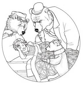 goldilocks bears mask templates sketch coloring