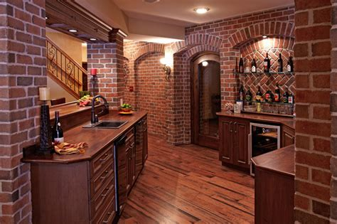 brick basement walls finished basement bar traditional basement detroit by m j whelan construction