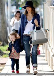 jessica alba dotes on daughters honor and haven at the park daily mail online