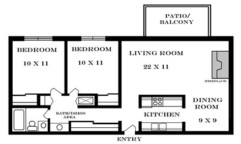 Two Bedroom Floor Plan by Lawrence Apartments Meadowbrook 2601 Dover Square