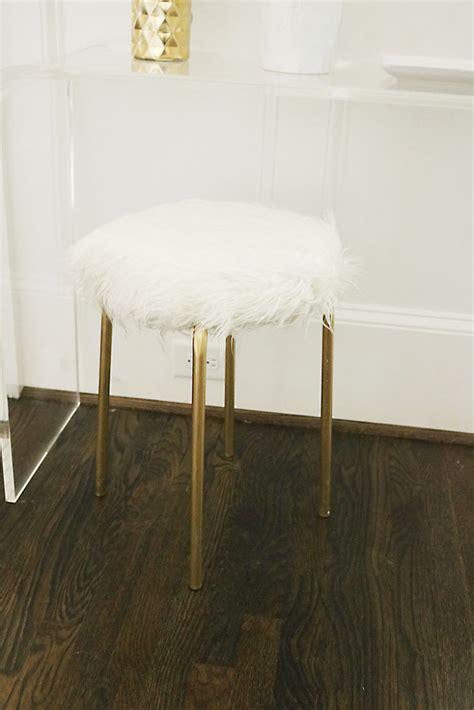 ikea vanity stool diy ikea hack white fur stool gold legs diy pinterest