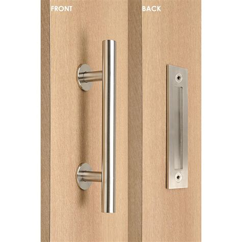 Strongar Contemporary 12 In Brushed Satin Ladder Pull And Strongar Barn Door Hardware