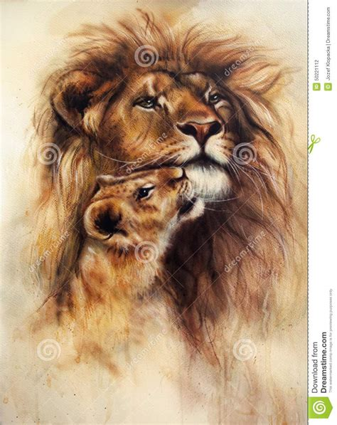 beautiful airbrush painting of a loving lion and her baby