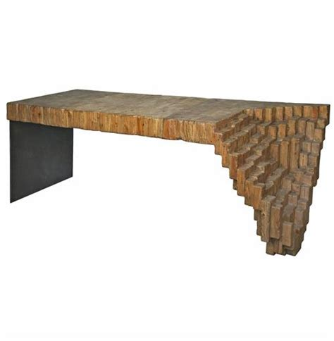 lassi global bazaar sculptural reclaimed wood metal desk