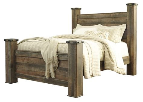 ashley furniture trinell brown queen poster bed  classy home