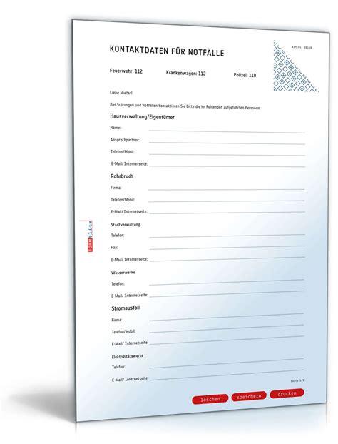 Kostenlos Musterbriefe Herunterladen Notfallkontakte Vorlage Zum