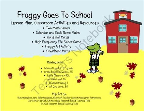 Froggy Goes To School froggy goes to school lesson plan activities and
