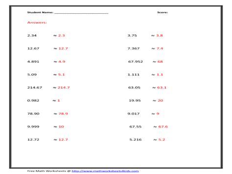 decimal rounding worksheets 6th grade rounding